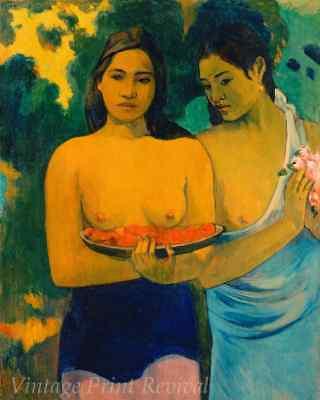 Two Tahitian Women by Paul Gauguin - Girls Fruit Topless 8x10 Print 1421