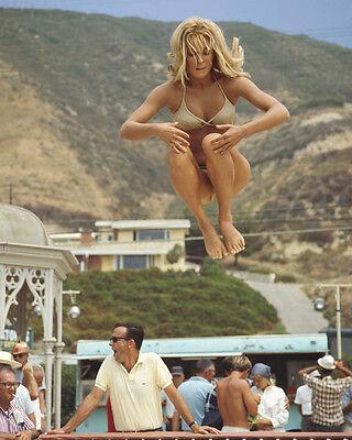 Don't Make Waves Sharon Tate jumping on trampoline Malibu Beach 8x10 Photo