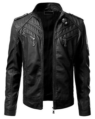 New Men's Genuine Lambskin Leather Jacket Black Slim fit Biker Motorcycle jacket ()