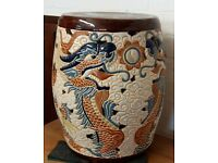 Chinese Pottery Garden Stool With Dragons In Clouds