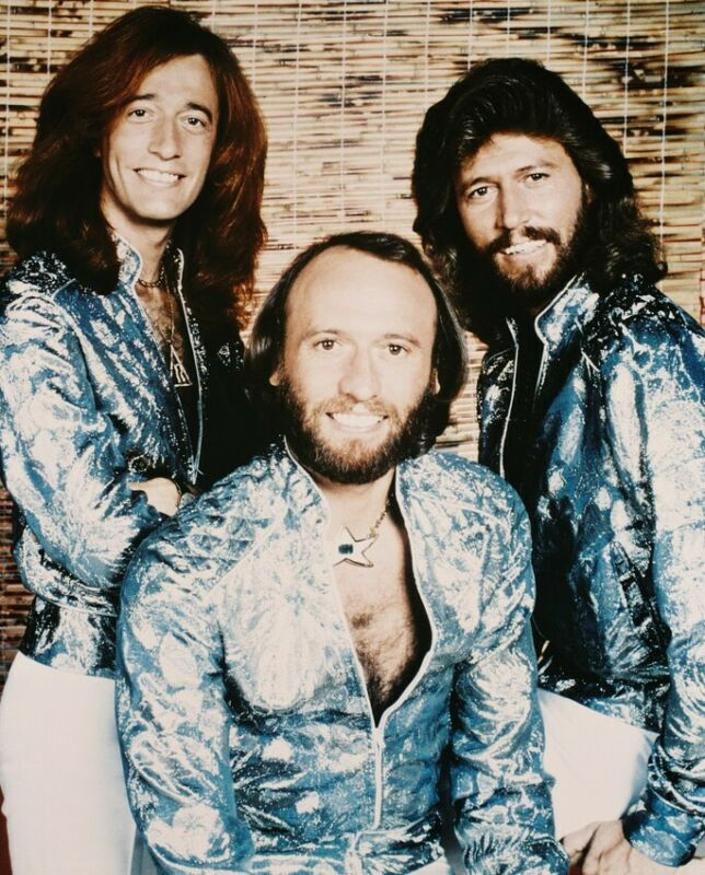 The Bee Gees 8x10 Photo Classic Photo In Shiny Silver Suits Disco Era