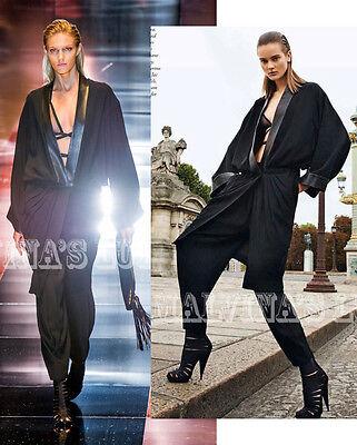 GUCCI DRESS COAT SATIN LEATHER TRIMMED BLACK JACKET RUNWAY $3,900 IT 42 US 6 - Leather Satin Coat