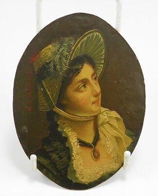 Antique 19th century European School miniature portrait painting lady on copper