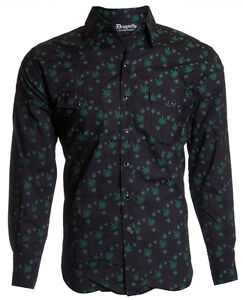 $68 DRAGONFLY Black MARIJUANA Weed Drug LS WESTERN SNAP BUTTON DOWN SHIRT MENS M