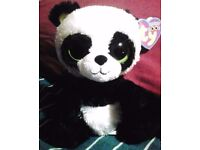 Ty Beanie Boos Bamboo the Panda with heart tag