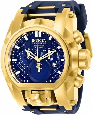 Invicta Reserve Bolt Zeus Magnum Watch 25608 Dual Time Chronograph Blue Gold