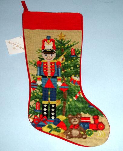 Sferra Nutcracker Toy Soldier Needlepoint Christmas Stocking Handmade New