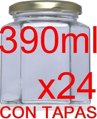 24 x Frascos Hexagonal de vidrio 390 ml esterilizable botes cristal con...