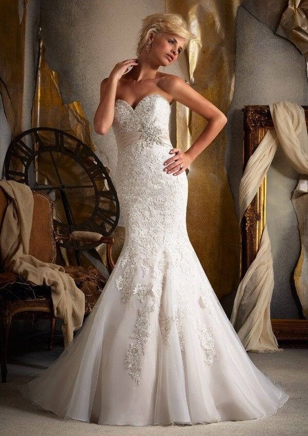 11b8ba0408ce Mori Lee Strapless Lace Mermaid Gown (Ivory) Size 16/18 | in ...