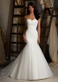 Mori Lee 1508 Ivory Tulle Fishtail Sweetheart Wedding Bride Bridal Dress UK 12 Lace up & Underskirt