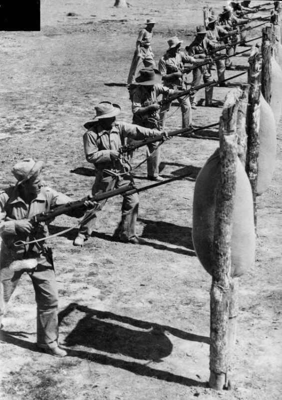 WWII B&W Photo Australian Troops Bayonet Training ANZAC World War Two WW2 / 1282