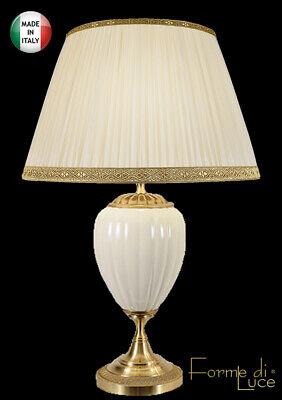 lampada da tavolo classica in ceramica e ottone satinato paralume seta plissé comprar usado  Enviando para Brazil