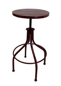 New cafe bar stool kitchen stools swivel screw retro industrial vintage look red ebay - Screw top bar stools ...