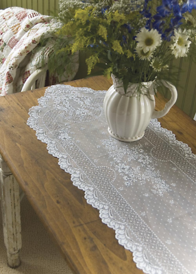 Heritage Lace Floret 14-Inch by 55-Inch Runner, White