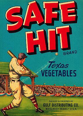 Vintage QUALITY Poster.BASEBALL Hit.Room Art Decor.Bedroom Interior design.317