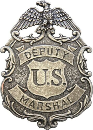 Denix Eagle Marshal Badge Deputy U.S. Nickel-Finish Metal Construction Pin Back