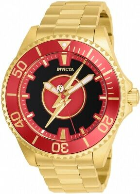 Invicta 26905 DC Comics Flash Men's 47mm Automatic Gold-Tone Black Dial Watch