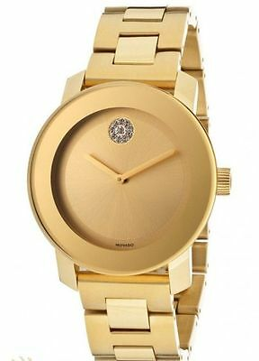 Movado Bold Yellow Gold Tone with Swarovski Crystals Women's Watch 3600104
