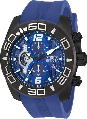 New Mens Invicta 22812 Pro Diver Chronograph Blue Rubber Strap Watch