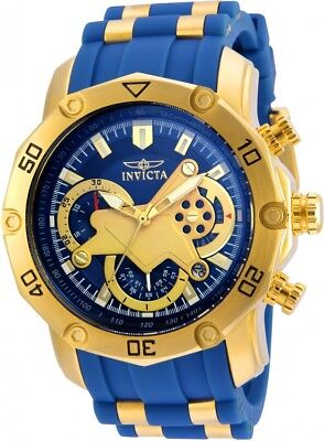 New Mens Invicta 22798 Pro Diver Blue Dial Chronograph Rubber Strap Watch