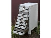 Shabby Vintage Chest Of Ten Industrial Filing Drawers
