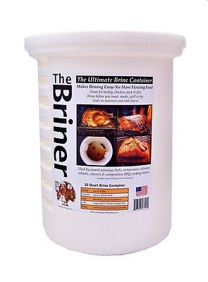 Large Briner BBQ Barbecue Brining Brine Bucket for Poultry Pork & Seafood - 22QT
