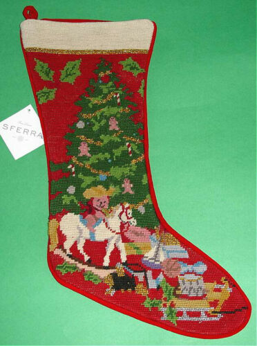 Sferra Christmas Toys Wool Needlepoint Stocking Handmade New