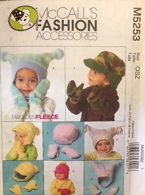 Infant & Toddler Hat and Mittens Pattern McCalls M5253 New Uncut - Free Shipping Free Hat Sewing Patterns