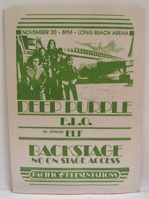 DEEP PURPLE / ELO / ELF - VINTAGE ORIGINAL 1970's CLOTH BACKSTAGE PASS