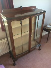 Lovely Antique Edwardian Glass Display Cabinet