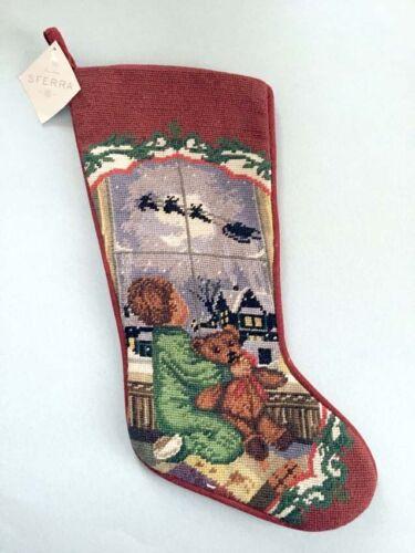 Sferra Needlepoint Christmas Stocking Boy w/Teddy Bear Handmade New