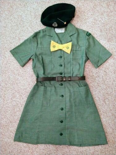 Vintage 1960s Junior Girl Scout Uniform--with Beret, Tie, Belt & Hat Pin