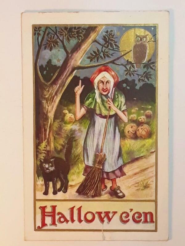 "Antique 1916 Whitney Embossed Halloween Folk Art Post Card ""Hallowe"