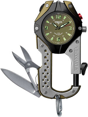 Dakota Knife Clip Watch Stainless and olive green aluminum casing. Watch has oli ()