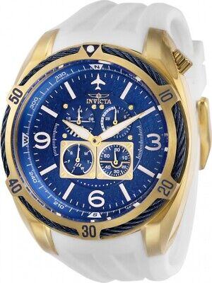 Invicta 28081 Aviator Men's Chronograph 50mm Gold-Tone White Rubber Watch