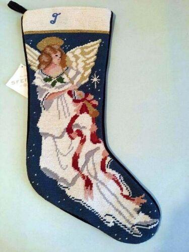 Sferra Angel Needlepoint Christmas Stocking w Initial Letter