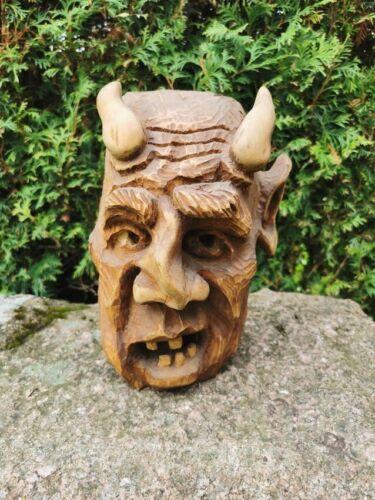 Wooden DEVIL EVIL traditional Handmade Hand Crafted VINTAGE OLD RARE CARVED