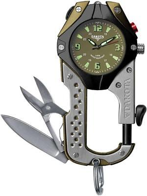 Dakota Knife Clip Watch Stainless Black Olive Green 100ft Water Resistant 8763 ()