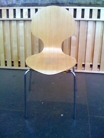 2 x Wooden Dining Chairs with Metal Legs