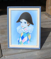 Blue frame with clown painting