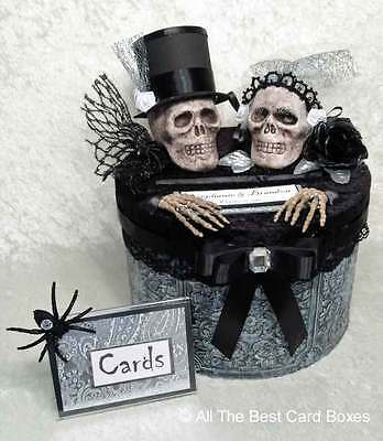 Halloween Wedding Card (Gothic Skull Wedding Card Box,Halloween,Black,Red,Handmade,Cake,Fabric,Card)