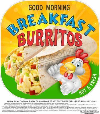 Breakfast Burritos Concession Food Truck Hot Dog Cart Weatherproof Sticker Decal
