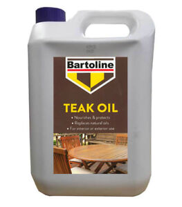 Bartoline Teak Oil 5 Litre Wood Furniture Oil Protects Wood gives Natural Sheen