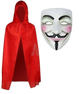 ANONYMOUS HACKER V FOR VENDETTA GUY HORROR DRESS HALLOWEEN FACE MASK + CAPE  - Cape For Halloween