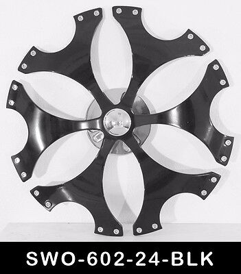 24 Inch Black Spinners Wheels Rims Fit Any Car Free S/H 24 Inch Spinner Wheel