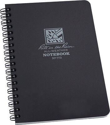 Rite In The Rain Side Spiral Notebook Black 4.62 X 7 32 Gray Paper Sheets