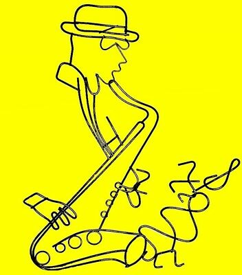 SAXOPHONE JAZZ MAN Wall Hanging Wire Art Sculpture Perfect Gift 4 Music Lovers!