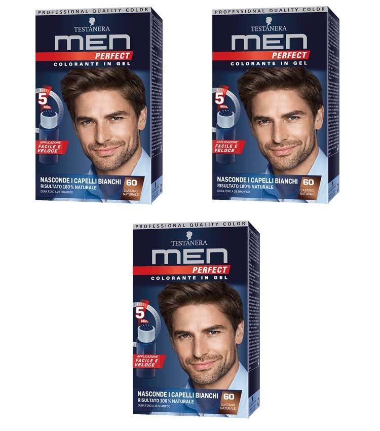 3pz Black-headed Männer PERFECT Farbstoff Gel für Haar 60 Castano natürliche