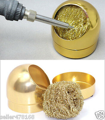Aluminum Housing Soldering Iron Tip Nozzle Cleaning Cleaner Sponge Copper Ball