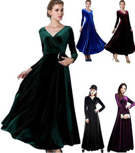 Formal-Long-Velvet-Evening-Party-Maxi-Dress-Prom-Dress-Gown-3-Colours-7-sizes